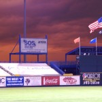 These sweet/ominous storm clouds eventually dumped on the Blatt Tuesday night.