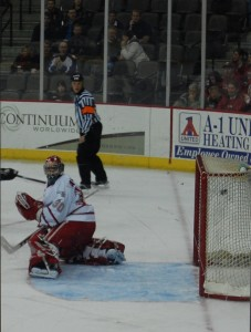 One of the first decent hockey photos I ever took - Minnesota Mankato scoring against UNO in December 2008.