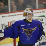 From the UNO/Mankato series a few weeks ago - The Mankato goalie and his GIGANTIC eyes.